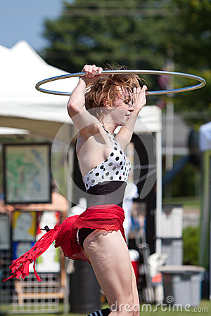 Circus Performer Does Hula Hoop At Spring Festival Editorial Photography