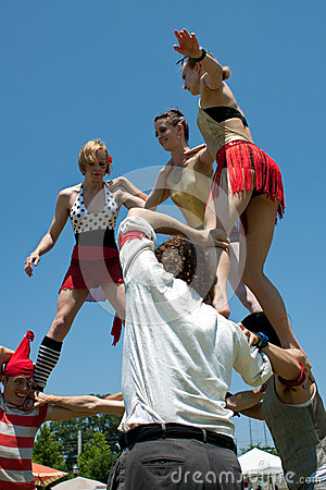 Circus Performers Build Human Pyramid Editorial Photo