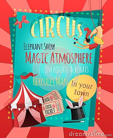 Free Circus Retro Poster Royalty Free Stock Image - 46942796