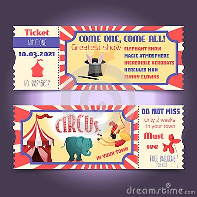 Free Circus Retro Tickets Royalty Free Stock Images - 48751769