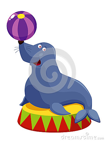 Circus seal playing a ball