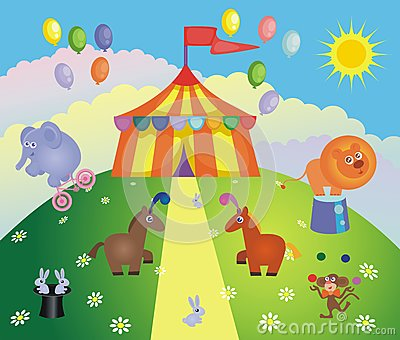 Circus tent and animals