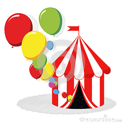 Circus tent and balloons vector