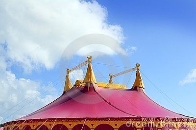 Circus tent red pink color four towers