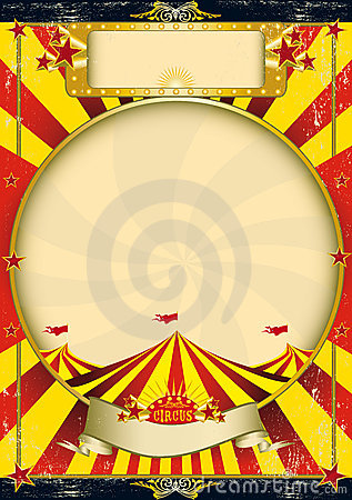 Free Circus Vintage Red And Yellow Poster Stock Images - 10221634