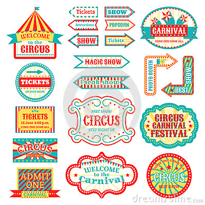 Circus vintage signboard labels banner vector illustration on white entertaining banner sign Vector Illustration