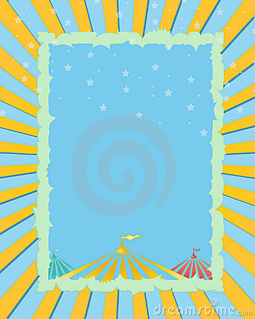 Circus yellow,blue background