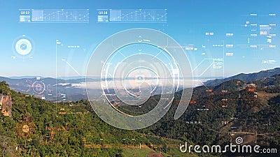 Cirkelkleurenknop omhoog het element van de vertoningsinterfacedoelwijzer voor het concept van de futuristische cybertechnologie  stock footage