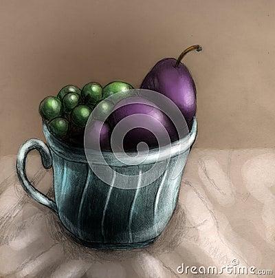 Ciruelos y uvas en una taza