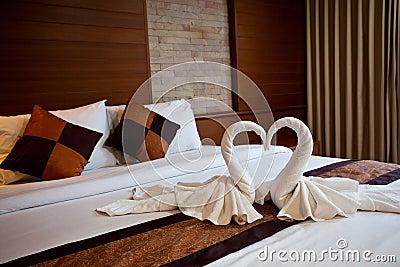 Cisnes feitas das toalhas