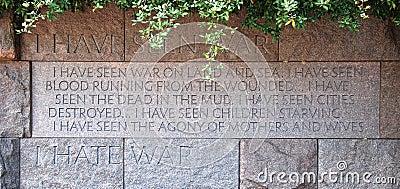 Citaat in het Gedenkteken van Franklin Delano Roosevelt