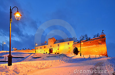 Citadel of Brasov in night, Romania landmark