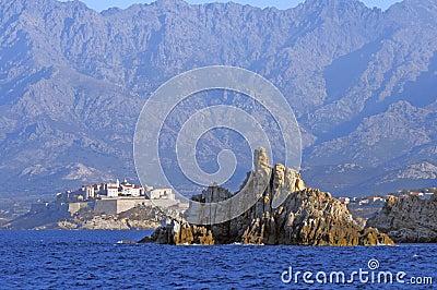 The citadel of Calvi seen from sea