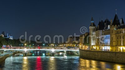 Cite island view with Conciergerie Castle and Pont au Change, over the Seine river timelapse. France, Paris. Cite island view with Conciergerie Castle and Pont stock footage