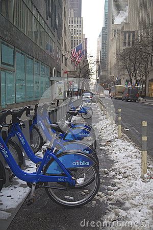 Citi bike station under snow near Times Square in Manhattan Editorial Photo