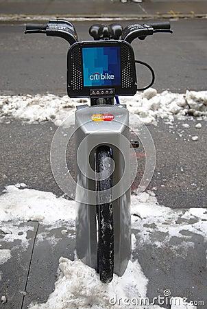 Citi bike under snow near Times Square in Manhattan Editorial Stock Photo