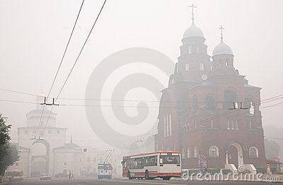 Cities of central Russia in smoke Editorial Photo