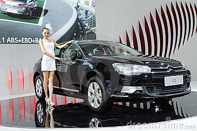 Citroen c5 and model Editorial Photo