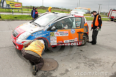 Citroen WRC checked by rally referies Editorial Photography