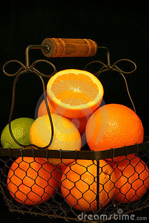 Citrus Fruit Over Black