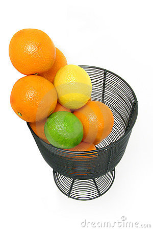 Citrus Fruit Still Life Over White
