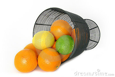 Citrus Fruit Still Life Over White