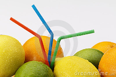 Citrus fruit with straws