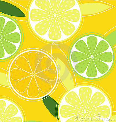 Citrus fruit on yellow background