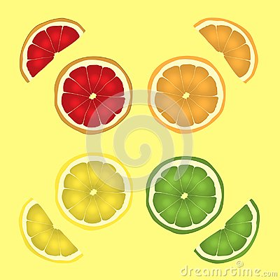 Free Citrus Fruits In A Cut. Slicing A Set Of Lemon, Lime, Orange And Grapefruit. Vector Drawing Illustration Eps.10 Royalty Free Stock Image - 118021576