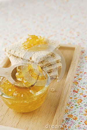 Citrus jam and flat bread