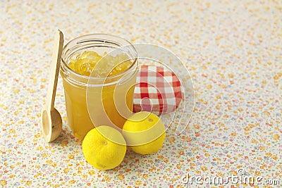 Citrus jam in glass bin