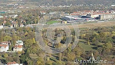 Città aerea di generale arena di Praga del fuco stock footage