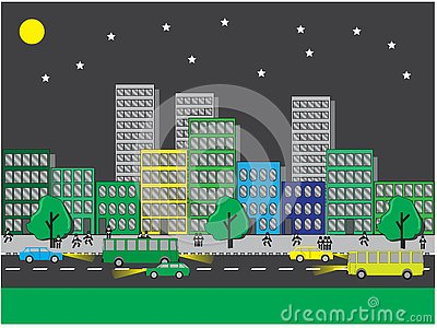 City views on a clear night Vector Illustration