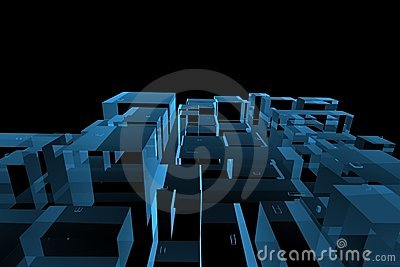 City 3D rendered xray blue