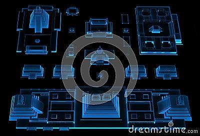 City (3D xray blue)