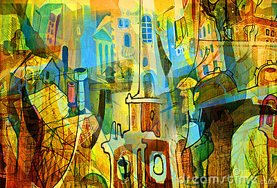 City and abstract and drawing and architecture