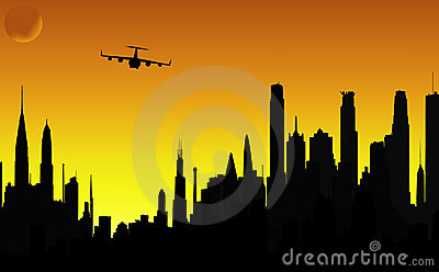 City and airplane vector silhouettes