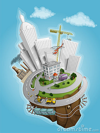 Free City And The Land Illustration Royalty Free Stock Photos - 13472808