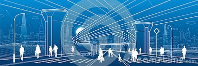 City architecture. Infrastructure illustration, transport overpass, big bridge, urban scene. Bus move. People walking at street. N Vector Illustration