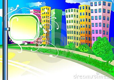 City background with tablet