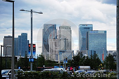 City Banks seen from North Greenwich Editorial Stock Photo