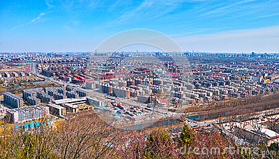 The city from Beijing Baiwangshan Peak Editorial Stock Image