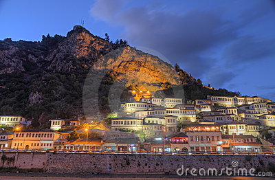 City of Berat in Albania at night