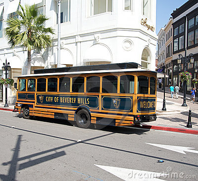 City of Beverly Hills bus in Rodeo Drive Editorial Image
