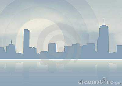 City on blue background