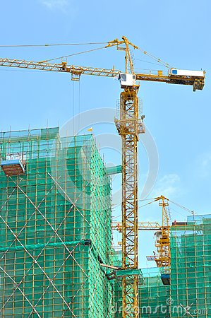 City buildings in construction