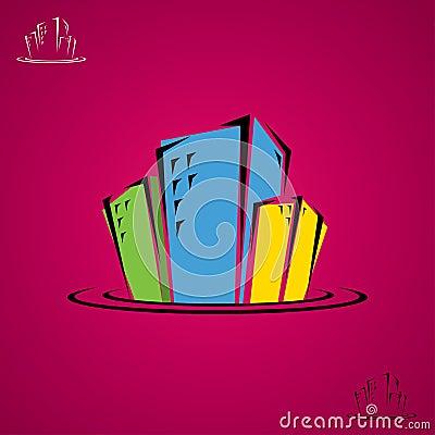 City buildings doodle