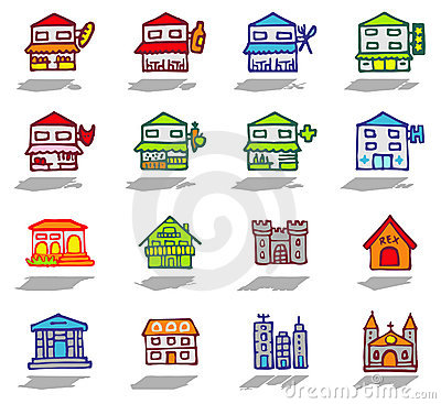 city & buildings icons set