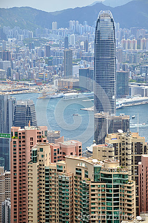City buildings near Victoria Harbor, Hongkong Editorial Stock Photo
