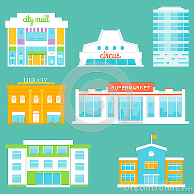 Free City Buildings Set. Shopping Mall, Circus, Office Building, Library, Supermarket, School Royalty Free Stock Photo - 51759525